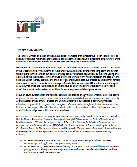 2019 07 15 p1 Integrative Health Forum (IHFGlobal) Introductory Letter for Physicians
